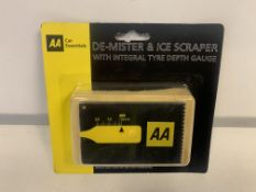 71 X BRAND NEW AA DE-MISTER AND ICE SCRAPERS WITH INTEHRAL TYRE DEPTH GUAGES
