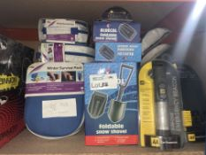 38 PIECE MIXED LOT INCLUDING WINTER SURVIVAL KITS, SNOW SHOVELS, 3 IN 1 EMERGENCY BEACONS, ETC
