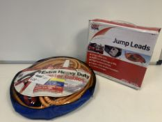 2 X BRAND NEW EXTRA HEAVY DUTY BOOSTER CABLES AND 2 X AUTOCARE JUMP LEADS