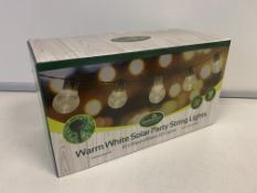24 X BRAND NEW BOXED GARDENKRAFT WARM WHITE SOLAR PARTY STRING LIGHTS IN 2 BOXES