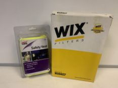 18 X BRAND NEW HIGH VIS SAFETY VESTS AND 7 X WIX FILTERS