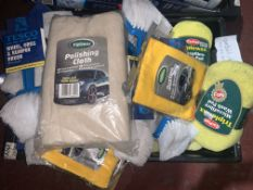 54 PIECE MIXED LOT INCLUDING WHEEL, GRILL AND BUMPER BRUSHES, SPONGES, TRIPLEWAX DUSTERS, ETC