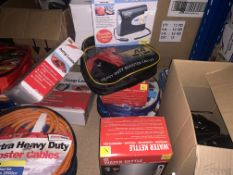 MIXED LOT INCLUDING BOOSTER CABLES WATER KETTLE, AIR COMPRESSOR, ETC
