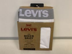 30 X PACKS OF 2 BRAND NEW LEVI WHITE MENS BOXERS SIZE XL