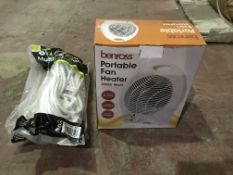 2 X 4 GANG 10M MULTIWAY ADAPTORS AND A BENROSS PORTABLE FAN HEATER