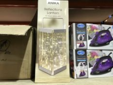 2 X ANIKA LIGHTING REFLECTIONS LANTERN WITH 30 WARM WHITE LED LIGHTS