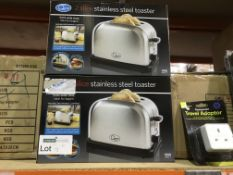 2 X QUEST 2 SLICE STAINLESS STEEL TOASTER