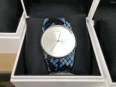 CALVIN KLEIN WRIST WATCH WITH BLACK AND BLUE STRAP