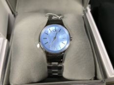 LADIES CALVIN KLEIN WRIST WATCH WITH METAL STRAP AND BLUE FACE