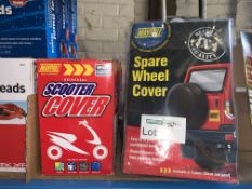 4 X BRAND NEW MAYPOLE SCOOTER COVERS AND 3 X BRAND NEW MAYPOLE SPARE WHEEL COVERS
