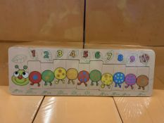 48 X BRAND NEW WOODEN CLASSICS CATERPILLAR LEARNING GAMES IN 1 BOX