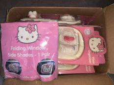 12 X MIXED HELLO KITTY CAR ACCESSORIES INCLUDING SUN SHADES, VISOR ORGANISERS, ETC