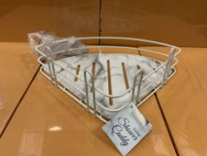 48 X BRAND NEW SUCTION CORNER MARBLE EFFECT SHOWER CADDIES