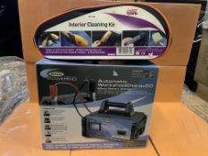 RING POWERING 20AMP BATTERY CHARGER AND 5 X INTERIOR CLEANING KITS INCLUDING VACUUM CLEANER BRUSHES,