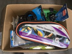 25 PIECE MIXED CAR LOT INCLUDING INTERIOR CLEANING KIT, CABLE LOCKS, TYRE PRESSURE GUAGES, ETC