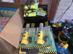 16 PIECE MIXED LOT INCLUDING EMERGENCY BEACONS, FAMILY PACK SAFETY JACKET SETS, TOW ROPES, ETC