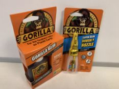 6 X BRAND NEW GORILLA 12G SUPER GLUE BRUSH AND NOZZLE AND 10 X GORILLA 60ML GORILLA GLUE BONDS
