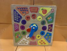 36 X BRAND NEW BOXED WOODEN CLASSICS TEACH TIME CLOCK DELUXE IN 1 BOX