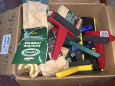 30 PIECE MIXED CAR CLEANING LOT INCLUDING CHAMOIS, ICE SCRAPERS, STEEL WOOL, ETC