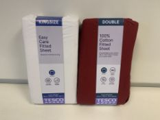 BRAND NEW BEDDING LOT INCLUDING 6 X BERRY SINGLE 6 X BERRY DOUBLE AND 6 X WHITE KING TESCO FITTED