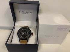 BRAND NEW RETAIL BOXED NAUTICA MENS QUARTZ WATCH WITH BLACK DIAL CHRONOGRAPH DISPLAY AND BEIGE