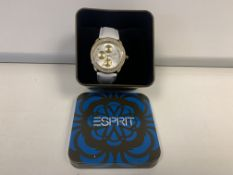 BRAND NEW RETAIL BOXED ESPIRIT PEONA WOMENS QUARTZ WATCH WITH SILVER DIAL AND WHITE LEATHER STRAP