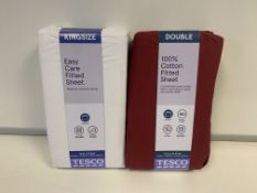 BRAND NEW BEDDING LOT INCLUDING 6 X BERRY SINGLE 6 X WHITE DOUBLE AND 6 X WHITE KING TESCO FITTED