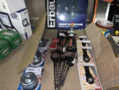 30 PIECE MIXED TOOL LOT INCLUDING ERBAUER DIAMOND TILE TURBO BLADES, DRILL BITS, METAL STRIPPERS,