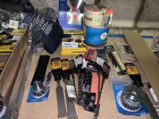 34 PIECE TOOL LOT INCLUDING DRILL BITS, SANDING SHEETS, TOOTH CHISELS ETC