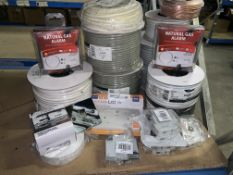 23 PIECE MIXED ELECTRICAL LOT INCLUDING NATURAL GAS ALARMS, SPEAKER HIFI CABLE, FLEX CABLE, ETC