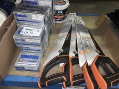MIXED LOT INCLUDING 10 X PACKS OF VARIOUS ULTRA SCREWS, 4 X MAGNUSSON WOOD SAWS AND 1 X TUB OF