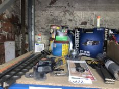 36 PIECE TOOL LOT INCLUDING ERBAUER AIR DIE GRINDER KIT, ERBAUER DRILL BITS, SANDING SHEETS, ETC