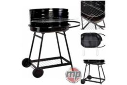 2 X BRAND NEW BOXED BARREN PORTABLE CHARCOAL TROLLEY BARBEQUE OUTDOOR GRILL WITH WHEELS BLACK RRP £