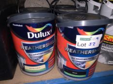 5 X BRAND NEW 5L TUBS OF DULUX SMOOTH MASONARY PAINT IN VARIOUS COLOURS