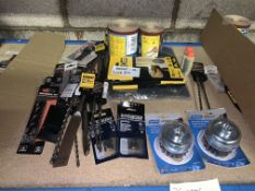 36 PIECE MIXED TOOL LOT INCLUDING DEWALT TOOTH CHISELS, METAL STRIPPERS, SANDING SHEETS, ETC