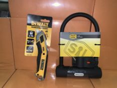 5 X BRAND NEW SMITH AND LOCKE D LOCKS AND 3 X BRAND NEW DEWALT RETRACTABLE KNIVES
