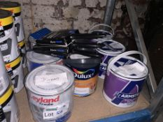 8 X TUBS OF VARIOUS PAINT AND 3 X HARRIS EMULSION BRUSHES