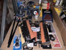 36 PIECE TOOL LOT INCLUDING DRILL BITS, METAL STRIPPERS, SANDING SHEETS, ETC