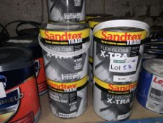14 X BRAND NEW 2.5L TUBS OF SANDTEX TRADE FLEXI GLOSS IN BLACK AND WHITE