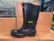 6 X BRAND NEW PAIRS OF STANLEY VANCOUVER SAFETY WELLINGTON BOOTS IN VARIOUS SIZES