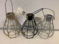 24 x NEW SEALED SOLAR CAGE LANTERNS IN VARIOUS COLOURS - BLACK, SILVER, GOLD ETC