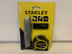 6 x NEW SEALED STANLEY 3 PIECE SETS. EACH SET INCLUDES: STANLEY KNIFE, 5M TAPE MEASURE & 13 x BLADES