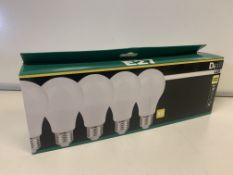 16 x NEW PACKS OF 5 WARM WHITE LED LIGHT BULBS. 9W=60W. 806LM.RRP £22 PER PACK