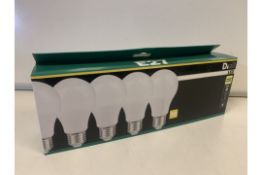 15 x NEW PACKS OF 5 WARM WHITE LED LIGHT BULBS. 9W=60W. 806LM.RRP £22 PER PACK