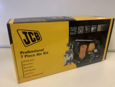4 x NEW BOXED JCB PROFESSIONAL 7 PIECE AIR KIT EACH INCLUDES: INFLATING PISTOL, SPRAY PISTOL, BLOW