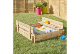 3 x NEW BLOOMA KIDS WOODEN SAND PIT BENCHES - SIZE: 120(W)x120(D)x20(H)CM.