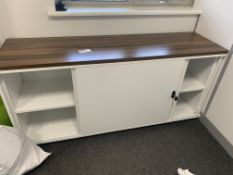 LARGE WALNUT EFFECT FILING CABINET WITH LOCKABLE DOORS