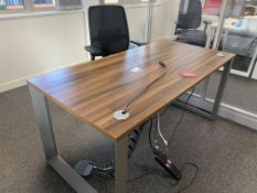 WALNUT EFFECT OFFICE DESK WITH CHAIR
