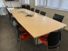 LARGE BOARDROOM TABLE WITH 12 CHAIRS 395 X 130CM (DETACHABLE)