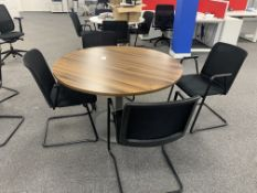 WALNUT EFFECT ROUND TABLE WITH 4 CHAIRS